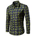 abordables Camisas de Hombre-Hombre Tallas Grandes Estampado - Algodón Camisa Geométrico / Cuadrícula / Gráfico Azul Piscina