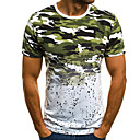Χαμηλού Κόστους Ανδρικά μπλουζάκια και φανελάκια-Ανδρικά T-shirt καμουφλάζ Στρογγυλή Λαιμόκοψη Ρουμπίνι