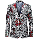 povoljno Muški sakoi i odijela-Muškarci Veći konfekcijski brojevi Sako, Cvjetni print Klasični rever Umjetna svila / Poliester Srebro
