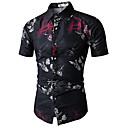 povoljno Muške košulje-Veličina EU / SAD Majica Muškarci Cvjetni print / Geometrijski oblici Klasični ovratnik Print Crn