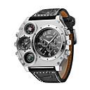 ieftine Ceasuri Bărbați-Oulm Bărbați Ceas Militar  Ceas de Mână Aviation Watch Quartz Quartz Japonez Supradimensionat Piele Negru / Maro Termometru Zone Duale de Timp  Cool Analog Negru Maro Doi ani Durată de Viaţă Baterie