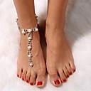 رخيصةأون ملصقات ديكور-نسائي Barfotsandaler أنيق لؤلؤ تقليدي خلخال مجوهرات فضي من أجل السفر / حجر الراين