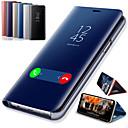 رخيصةأون حافظات / جرابات هواتف جالكسي S-غطاء من أجل Samsung Galaxy A6 (2018) / A6+ (2018) / Galaxy A7(2018) مع حامل / تصفيح / مرآة غطاء كامل للجسم لون سادة قاسي جلد PU / الكمبيوتر الشخصي