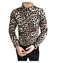 povoljno Muške košulje-Veličina EU / SAD Majica Muškarci Pamuk Leopard Braon / Dugih rukava