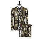 povoljno Muški sakoi i odijela-Muškarci Veći konfekcijski brojevi odijela, Paisley uzorak Klasični rever Poliester Zlato