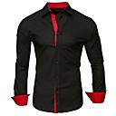povoljno Muške košulje-Veći konfekcijski brojevi Majica Muškarci Pamuk Jednobojni / Color block Klasični ovratnik Kolaž Tamno siva