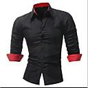 povoljno Muške košulje-Veličina EU / SAD Majica Muškarci Pamuk Jednobojni Crn