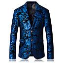 povoljno Muški sakoi i odijela-Muškarci Sako, Geometrijski oblici Zašiljeni rever Umjetna svila / Poliester Plava