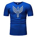 abordables Camisetas y Tops de Hombre-Hombre Talla EU / US Estampado - Algodón Camiseta, Escote en Pico Gráfico Negro