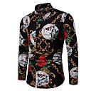 povoljno Muške košulje-Veći konfekcijski brojevi Majica Muškarci Cvjetni print Slim Crn / Dugih rukava
