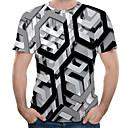 billiga T-shirts och brottarlinnen till herrar-Tryck, Geometrisk / 3D Plusstorlekar Bomull T-shirt Herr Rund hals Grå