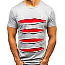 cheap Necklaces-Men's EU / US Size Cotton T-shirt - Solid Colored Ruffle Round Neck Blue