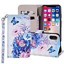 رخيصةأون أغطية أيفون-غطاء من أجل Apple iPhone XS / iPhone XR / iPhone XS Max محفظة / حامل البطاقات / مع حامل غطاء كامل للجسم فراشة / زهور قاسي جلد PU