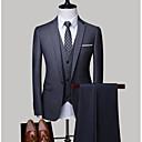 povoljno Men's Winter Coats-Muškarci Veći konfekcijski brojevi odijela, Jednobojni Kragna košulje Poliester Svijetlosiva / Navy Plava / Svijetlo plava