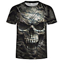 cheap Men's Tees & Tank Tops-Men's Cotton T-shirt - 3D / Skull / Camo / Camouflage Print Round Neck Army Green