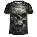 abordables Camisetas y Tops de Hombre-Hombre Estampado - Algodón Camiseta, Escote Redondo 3D / Cráneos / camuflaje Verde Ejército