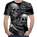 povoljno Muške jakne-Veličina EU / SAD Majica s rukavima Muškarci Color block / 3D / Lubanje Okrugli izrez Print Crn