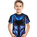 ieftine Imbracaminte & Accesorii Căței-Copii Copil Băieți Activ De Bază Lup Imprimeu #D Animal Imprimeu Manșon scurt Tricou Albastru piscină