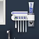 رخيصةأون الستائر-2 في 1 uv ضوء الأشعة فوق البنفسجية معقم حامل فرشاة الأسنان التلقائي معجون الأسنان موزع المنزل الحمام مجموعة