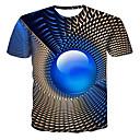 povoljno Muške majice i potkošulje-Veći konfekcijski brojevi Majica s rukavima Muškarci - Ulični šik / Punk & Gotika Geometrijski oblici / 3D Okrugli izrez Print Navy Plava