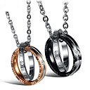cheap Men's Necklaces-Men's Women's Clear Cubic Zirconia Pendant Necklace Two tone Love Fashion Titanium Steel Black Rose Gold 50 cm Necklace Jewelry 1pc For Gift Daily