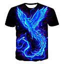 お買い得  メンズTシャツ&タンクトップ-男性用 プリント プラスサイズ Tシャツ ラウンドネック 3D / 動物 / カートゥン ブラック XXXL