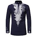 povoljno Muške košulje-Veličina EU / SAD Majica Muškarci Pamuk Etno Okrugli izrez Print Crn