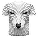 voordelige Heren T-shirts & tanktops-Heren Print T-shirt 3D / dier Ronde hals Wit