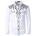povoljno Muške košulje-Veličina EU / SAD Majica Muškarci - Kaubojski / Tradicionalni / klasični Pamuk Color block / Grafika Klasični ovratnik Vezeno Crn