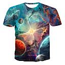 ieftine Îngrijire Unghii-Bărbați Rotund Tricou Galaxie Imprimeu Curcubeu / Manșon scurt / Vară