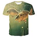 voordelige Heren T-shirts & tanktops-Heren Print Grote maten - T-shirt 3D / dier Ronde hals Slank Klaver