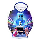 رخيصةأون ملصقات ديكور-كنزة بقبعة كم طويل طباعة طباعة رياضي Active / أساسي للصبيان أطفال / طفل صغير