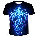 Χαμηλού Κόστους Ανδρικά μπλουζάκια και φανελάκια-Ανδρικά Μεγάλα Μεγέθη T-shirt 3D / Ζώο / Κινούμενα σχέδια Στρογγυλή Λαιμόκοψη Στάμπα Μαύρο XXXL