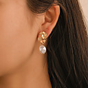 cheap Earrings-Women's Drop Earrings Retro Drop Baroque Korean Sweet Hammered Imitation Pearl Earrings Jewelry Gold For Party Gift Daily Festival 1 Pair