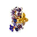 ieftine Ceasuri Damă-Pentru femei Inel de declarație Inel Cristal 1 buc Auriu Placat Auriu Diamante Artificiale Aliaj Declarație Artistic Design Unic Petrecere Concediu Bijuterii Floare Fluture Cool
