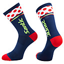 povoljno Muški satovi-Kompresija čarape Sport čarape / atletske čarape Biciklističke čarape Muškarci Bicikl / Biciklizam Prozračnost Ovlaživanje Quick dry 1 par Spots & Checks Neljepljivo Polyester Dark Blue L / Napredan