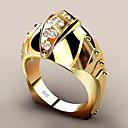رخيصةأون خواتم-نسائي عصابة الفرقة خاتم الماس الاصطناعي 1PC أصفر نحاس مطلية بالذهب Geometric Shape شائع مناسب للحفلات هدية مجوهرات هندسي سمك كوول