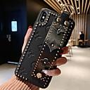 رخيصةأون أغطية أيفون-غطاء من أجل Apple iPhone XS / iPhone XR / iPhone XS Max مع حامل / اصنع بنفسك غطاء خلفي نموذج هندسي ناعم جلد أصلي