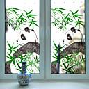 رخيصةأون الستائر-لطيف الباندا الخيزران المنقولة pvc فيلم النافذة&أمبير. ملصقات الديكور الهندسي