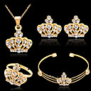 cheap Women's Watches-Women's Bracelet Bangles Stud Earrings Pendant Necklace Cut Out Crown Stylish Classic Rhinestone Gold Plated Earrings Jewelry Gold For Wedding Party 1 set / Open Ring