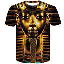 お買い得  メンズTシャツ&タンクトップ-男性用 プラスサイズ Tシャツ ラウンドネック スリム 3D コットン ゴールド