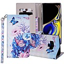 رخيصةأون ساعات النساء-غطاء من أجل Samsung Galaxy Note 9 محفظة / حامل البطاقات / مع حامل غطاء كامل للجسم فراشة / زهور قاسي جلد PU
