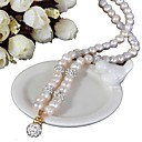 povoljno Trake i žice-slatkovodni biser klasična ogrlica - dijamant, biser blagoslovljena moda, glam, retro / vintage bijela za večernji poklon ženski