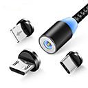 ieftine USB-uri-3 în 1 cablu de încărcare magnetice condus pentru iphone xr xs max x 8 7 6 plus telefon mobil încărcător magnet micro usb cablu tip c sârmă