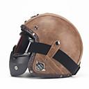 povoljno Zaštitna oprema-unisex pu kožna kacige 3/4 moto chopper biciklistička kaciga otvorena lica vintage motociklistička kaciga s naočalom za masku