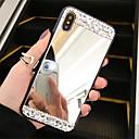 رخيصةأون أغطية أيفون-غطاء من أجل Apple iPhone XS / iPhone XR / iPhone XS Max حجر كريم / مرآة غطاء خلفي لون سادة قاسي زجاج مقوى