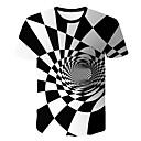 voordelige Heren T-shirts & tanktops-Heren T-shirt Geometrisch / 3D Ronde hals Wit / Korte mouw