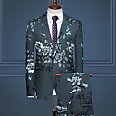 povoljno Men's Winter Coats-Muškarci odijela, Cvjetni print Klasični rever Umjetna svila / Poliester Obala / Crn / Vojska Green