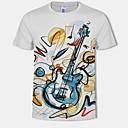 abordables Camisetas y Tops de Hombre-Hombre Tallas Grandes Estampado - Algodón Camiseta, Escote Redondo 3D / Gráfico Blanco