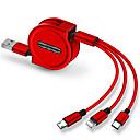 رخيصةأون أندرويد-USB مصغر / البرق / نوع C كابل 1.0M (3FT) قابل للسحب / 1إلى 3 / الشحن السريع TPE / ABS + PC محول كابل أوسب من أجل iPad / Samsung / Huawei
